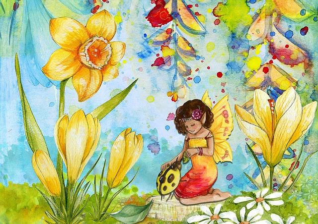 花に囲まれた少女