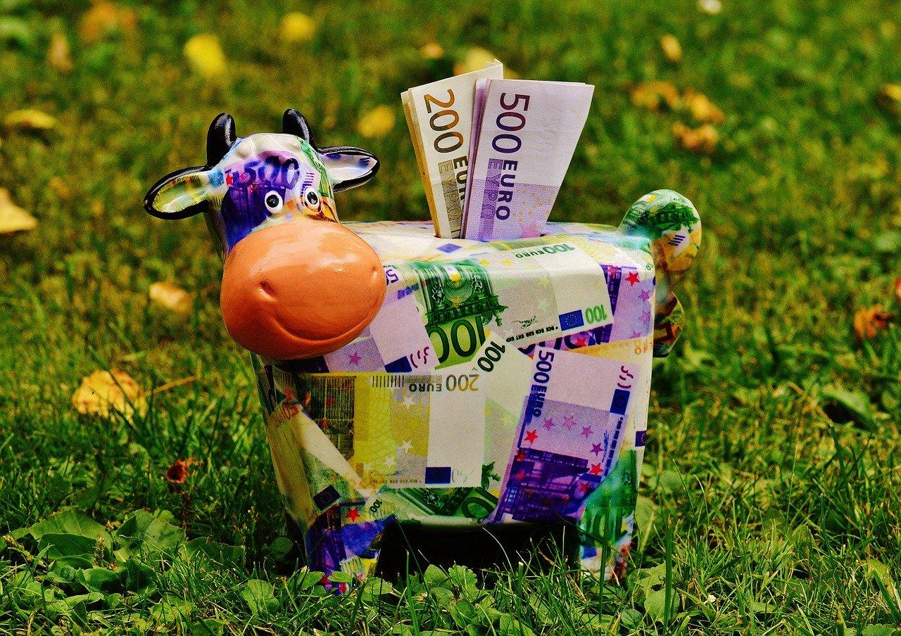 紙幣でできた牛