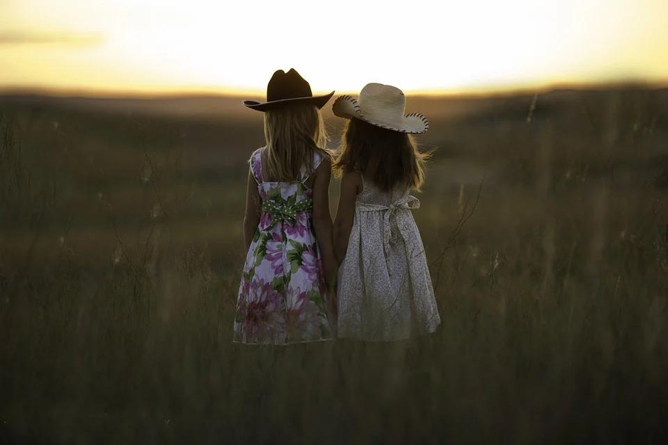 夕焼けの野原にたたずむ少女二人