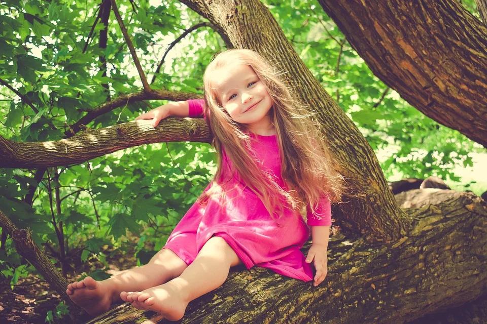 木の枝に座って微笑む少女