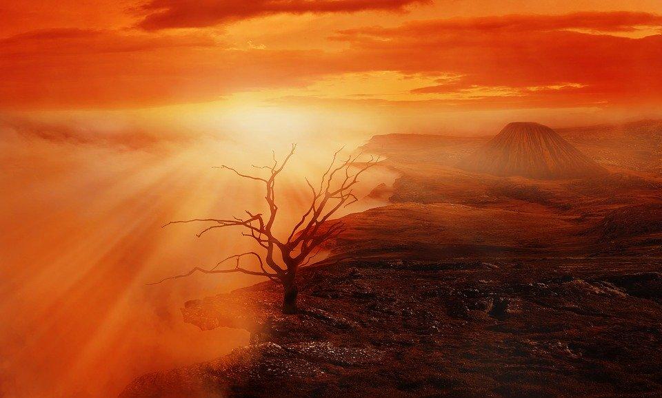 赤い大地、火山