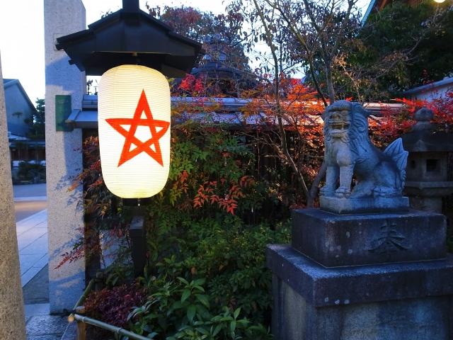 神社と五芒星の画像
