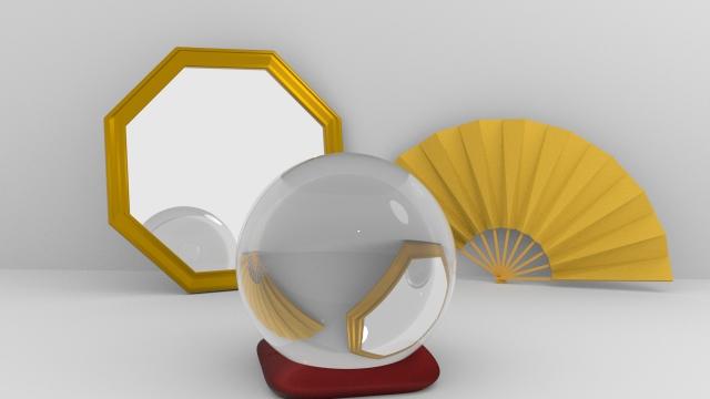 鏡と推奨と扇子