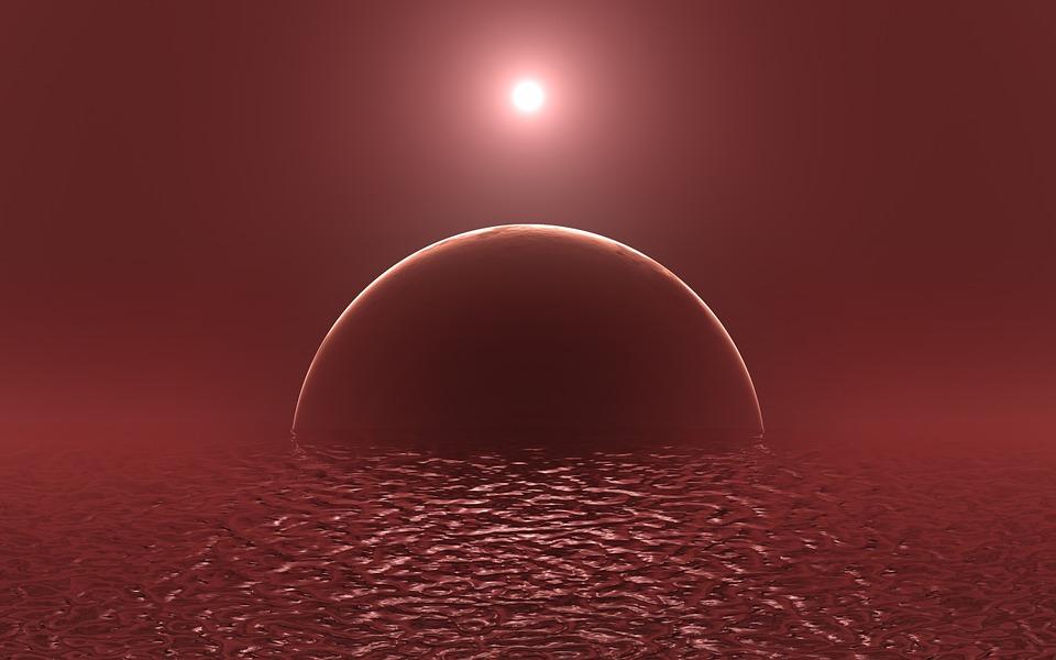 赤い水と惑星と月