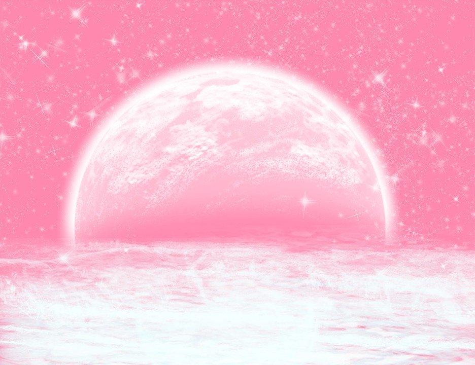 ピンク色の月