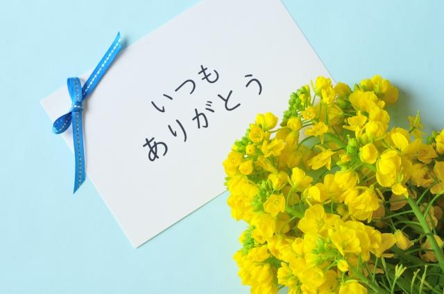 ありがとうと菜の花の花束