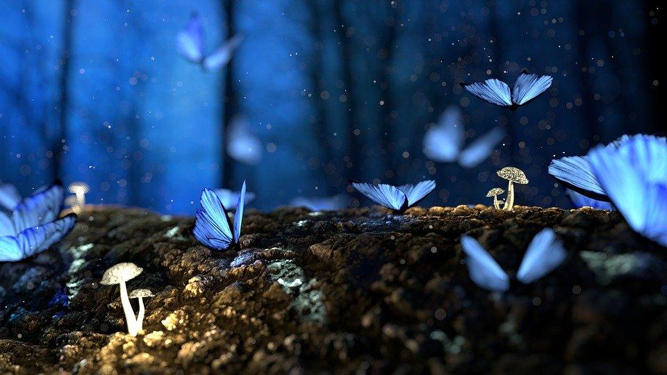 ファンタジックな青い蝶がたくさん飛んでいる