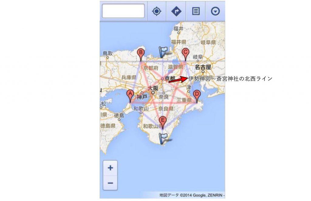 日本地図と五芒星