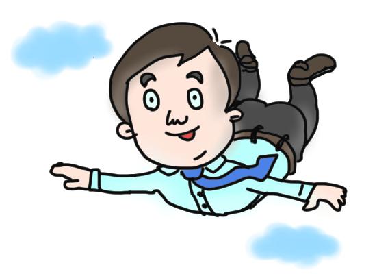 空を飛ぶ男性