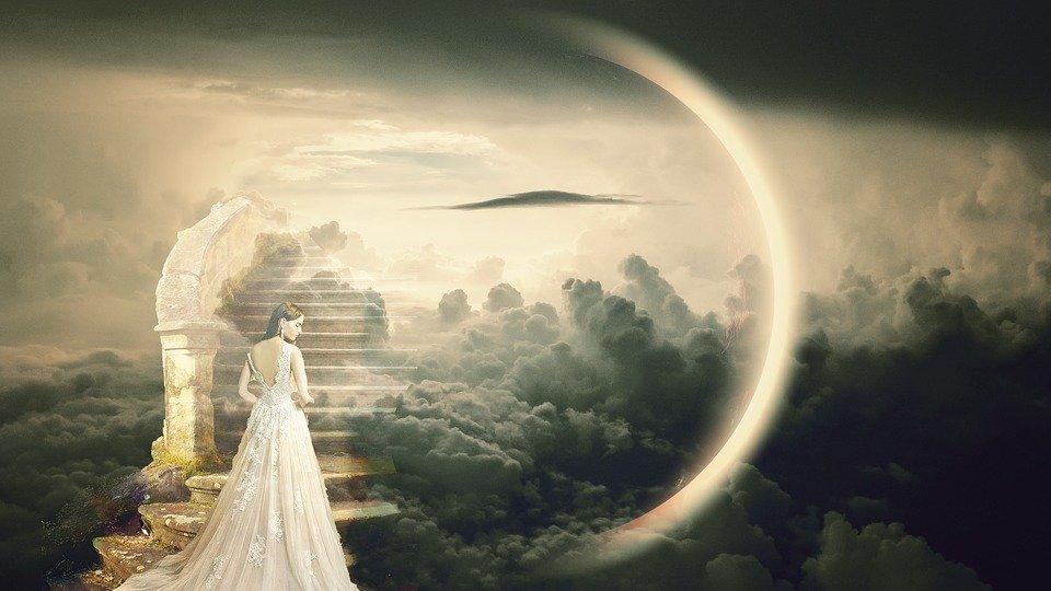 天国への階段と天使