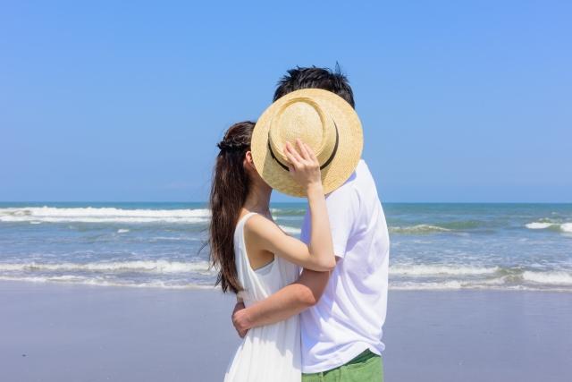 帽子で顔を隠す男女