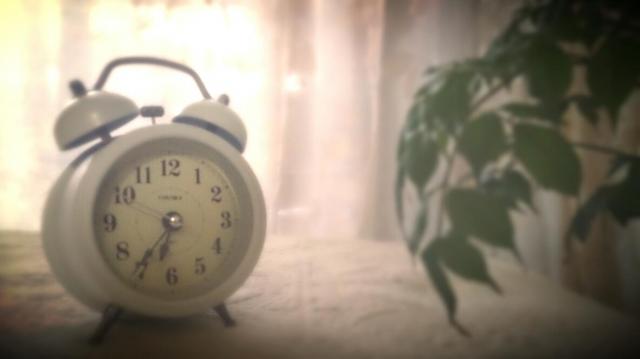 朝日と時計