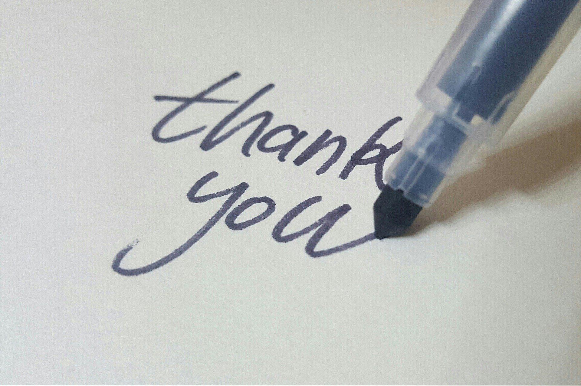 ありがとうを書いた紙