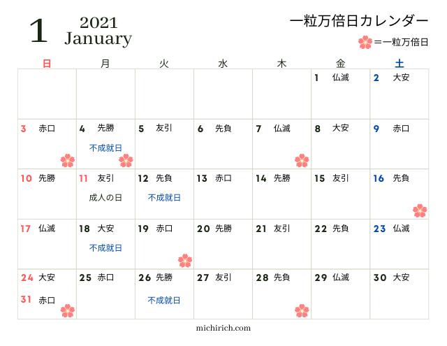 一粒万倍日カレンダー2021年1月