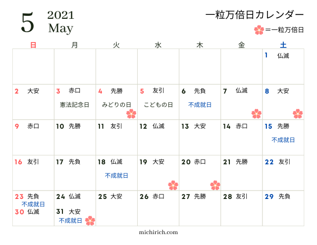 一粒万倍日カレンダー2021年5月