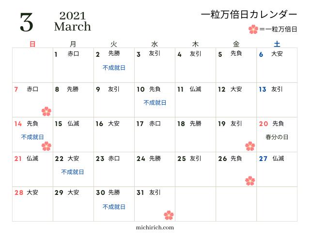 一粒万倍日カレンダー2021年3月