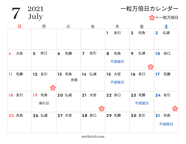 一粒万倍日カレンダー2021年7月