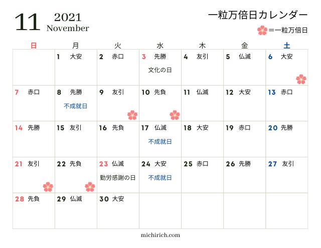 一粒万倍日カレンダー2021年11月