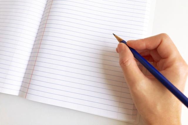 ノートを書く様子